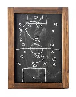 Tattiche di gioco del calcio (calcio) sulla lavagna isolata su bianco