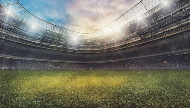 Stadio di calcio con le tribune piene di tifosi in attesa della partita. rendering 3d