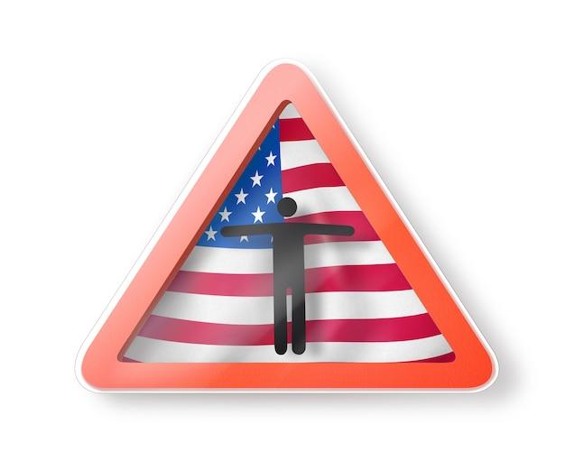 Segno di divieto con la figura di un uomo nero sulla bandiera americana su fondo bianco. restrizione all'ingresso negli usa. concetto di quarantena. illustrazione 3d