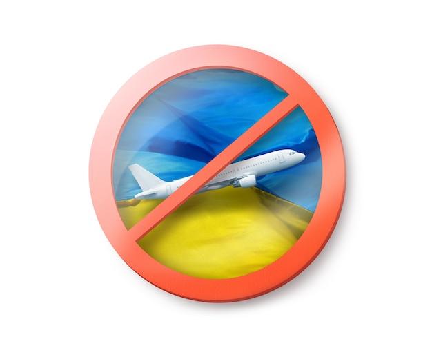 Segno di forbbiden con aereo bianco barrato sulla bandiera ucraina, copia dello spazio. restrizione all'ingresso in ucraina. concetto di quarantena. illustrazione 3d