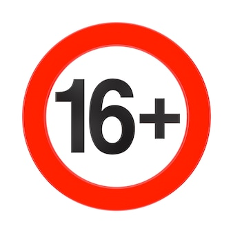 Proibito sotto i 16 anni segno rosso su sfondo bianco rendering 3d