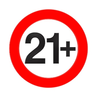 Vietato sotto i 21 anni segno rosso su sfondo bianco rendering 3d