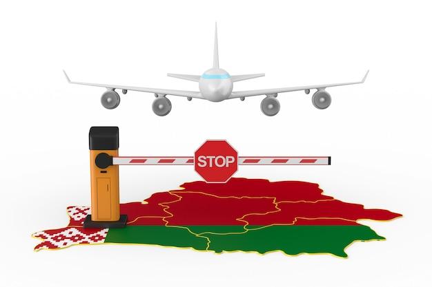 Volo vietato alla repubblica bielorussia su sfondo bianco. illustrazione 3d isolata