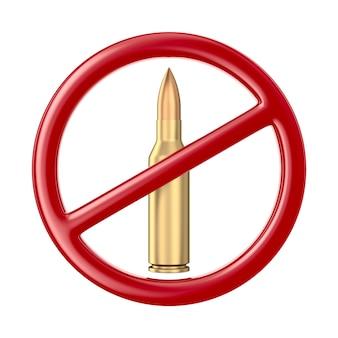 Segno e proiettile proibiti su priorità bassa bianca. illustrazione 3d isolata