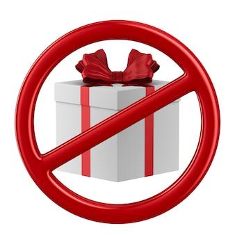 Segno proibito e confezione regalo su sfondo bianco. illustrazione 3d isolata