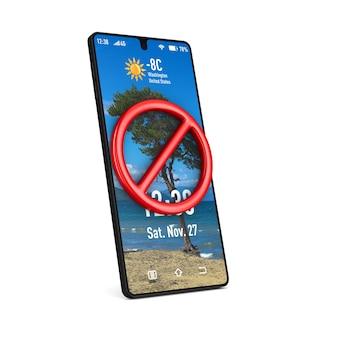 Segno e telefono vietati. rendering 3d isolato