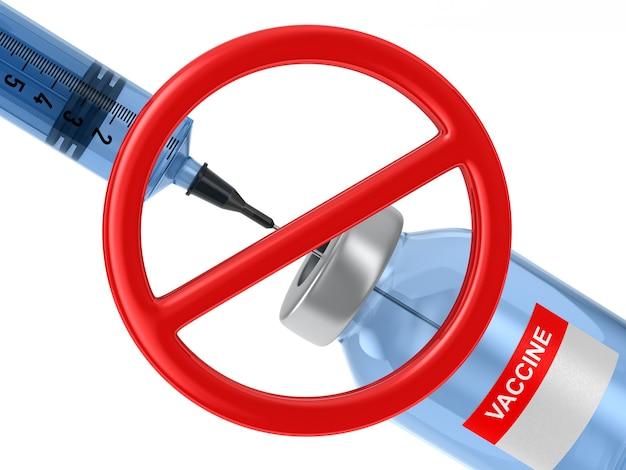 Segno proibito e vaccino da su sfondo bianco. illustrazione 3d isolata