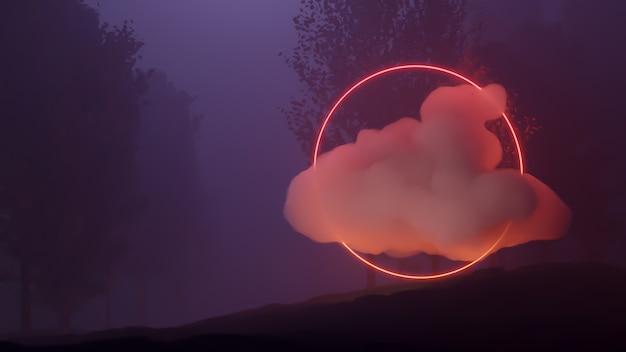 Rendering 3d di stile cyberpunk del paesaggio della foresta, universo di fantasia e priorità bassa della nuvola di spazio