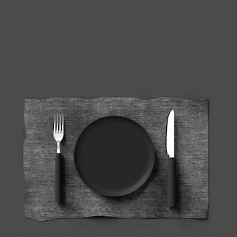 Forcella con coltello e piastra di colore grigio
