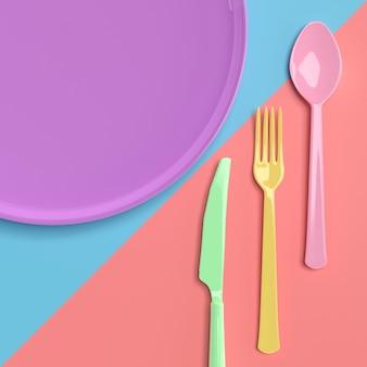 Forchetta con cucchiaio con coltello e piastra color pastello