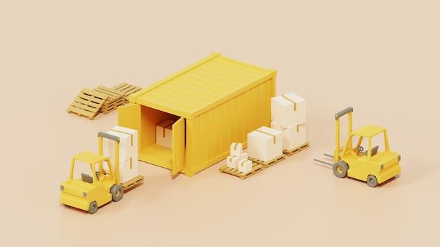 Carrello elevatore che trasporta scatole di merci al contenitore per il trasporto. su sfondo bianco rendering 3d.