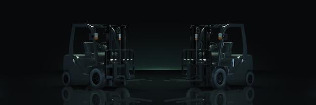 Carrello elevatore a forcale nel rendering 3d di sfondo scuro
