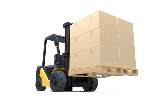 Il carrello elevatore a forcale sta sollevando un pallet con scatole di cartone su bianco isolato