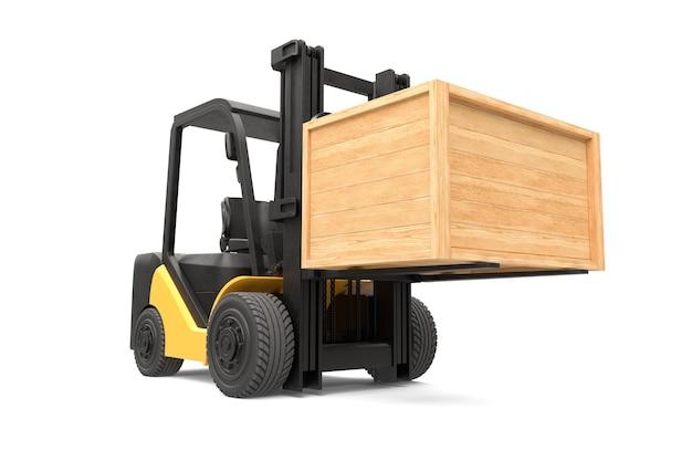 Il carrello elevatore a forcale sta sollevando una cassa di legno sul concetto di servizio di consegna isolato bianco