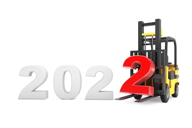 Carrello elevatore a forcale con segno di capodanno 2022 su sfondo bianco. rendering 3d
