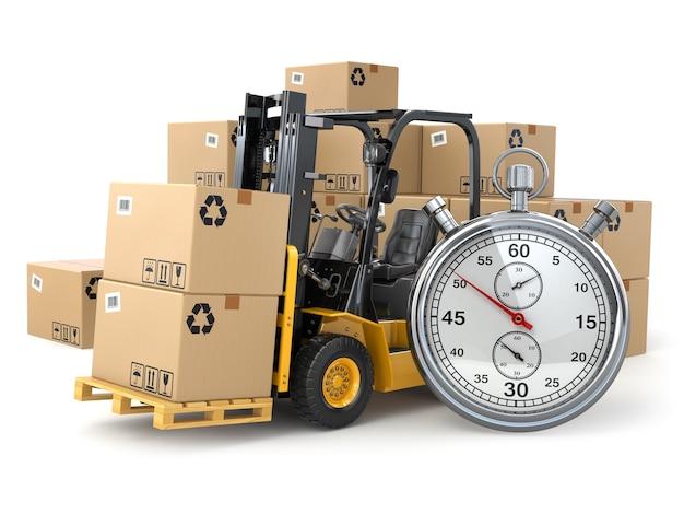 Carrello elevatore a forche con scatole e cronometro concetto di consegna espressa 3d