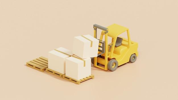 Carrello elevatore a forcale con scatole di carico su pallet per il trasporto.spedizione e consegna rendering 3d.