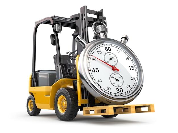 Carrello elevatore con cronometro concetto di consegna espressa 3d