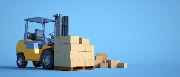 Carrello elevatore con scatole