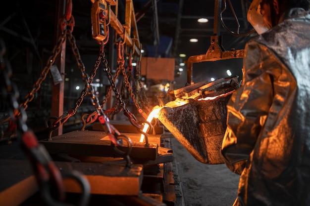 Fonderia e processo di colata di ferro fuso liquido, metallurgia e industria pesante.