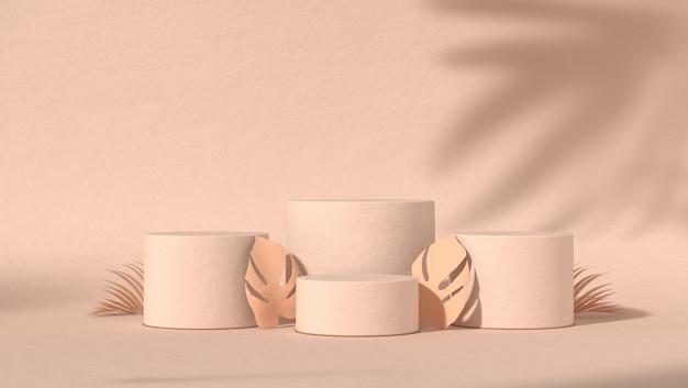 Quattro podio astratto per il posizionamento di prodotti cosmetici in uno sfondo naturale