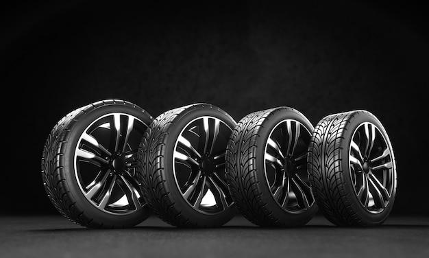 Quattro ruote di automobile sull'asfalto su uno sfondo nero. rendering 3d