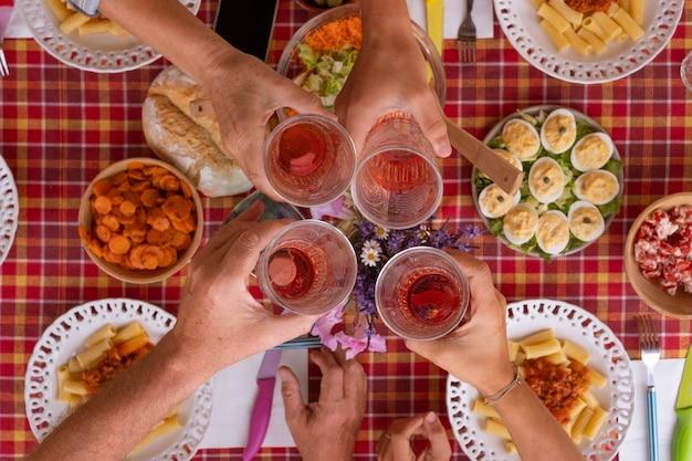 Quattro persone caucasiche che si godono un pasto insieme brindando con un bicchiere di vino