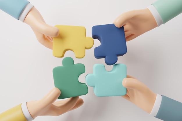 Quattro mani che tengono il puzzle con il lavoro di squadra
