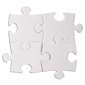 Quattro pezzi di puzzle isolati sul ritaglio sfondo bianco