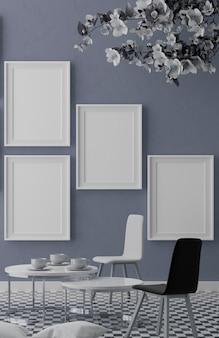 Quattro cornici bianche verticali sulla parete blu