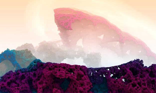 Sfondo frattale di montagne di corallo. paesaggio straniero di fantasia - rappresentazione 3d.
