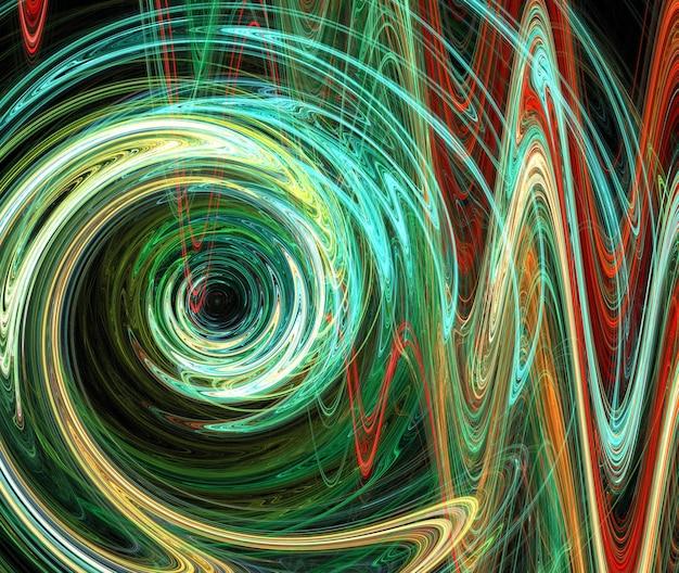 Frattale colorato astratto curve rotonde e linee su sfondo nero