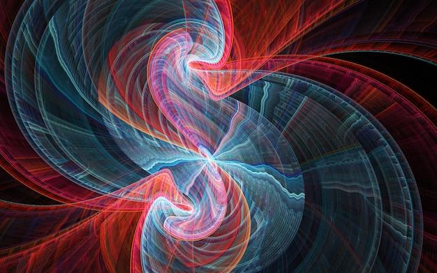 Curve e linee rotonde astratte colorate frattale su fondo nero