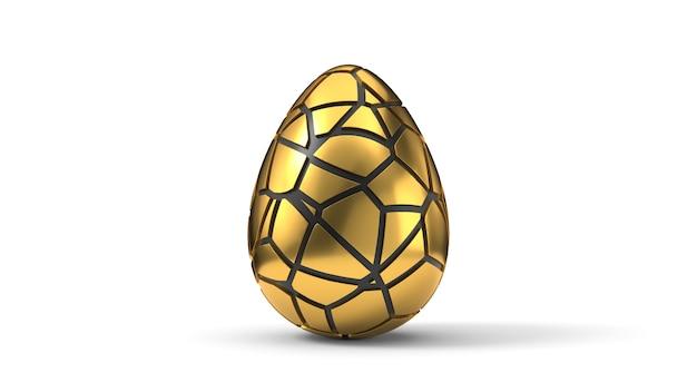 Fratturare e sbucciare l'uovo di pasqua. illustrazione 3d