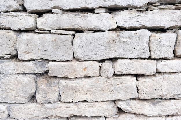 Un frammento di un muro di pietra grigia da pietre sciatte, ciottoli di varie dimensioni texture di sfondo