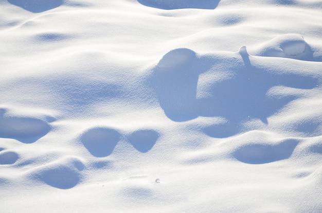 Frammento della strada, coperto da uno spesso strato di neve. la texture del manto nevoso scintillante