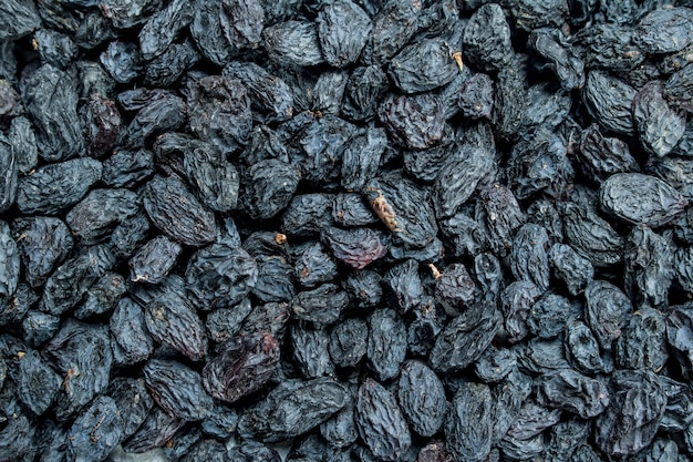Texture fragrante di uva passa. vista dall'alto