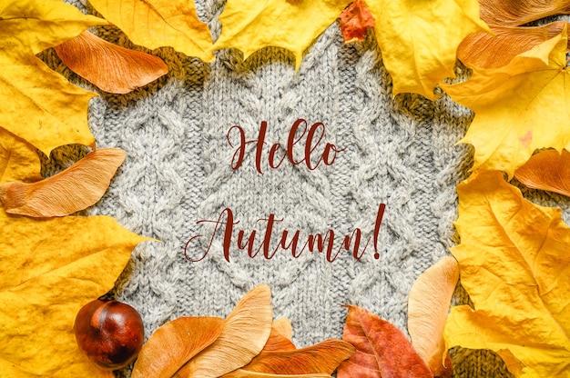 Una cornice di foglie e semi di acero arancio caduti in autunno e castagno rosso sullo sfondo di un accogliente maglione di lana lavorato a maglia autunnale grigio. testo