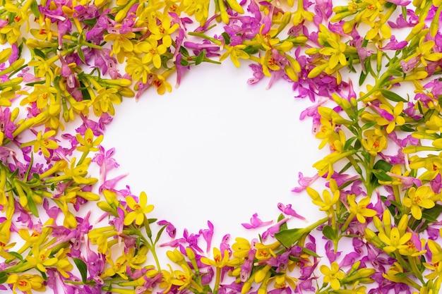 Cornice composta da tanti piccoli ramoscelli con fiori primaverili gialli e rosa su sfondo bianco