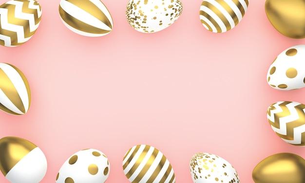 Cornice di uova di pasqua su sfondo rosa. carta di buona pasqua. rendering 3d
