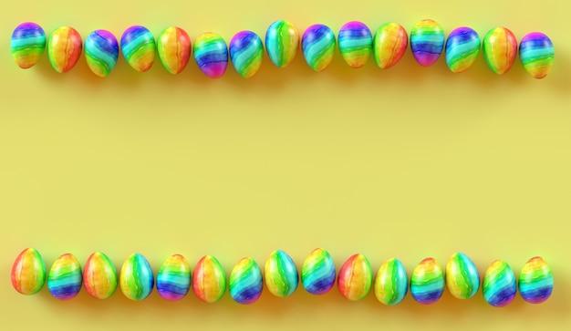 Cornice di uova di pasqua su sfondo giallo. rendering 3d.