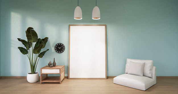 Cornice su parete in legno menta vuota su interior design pavimento in legno