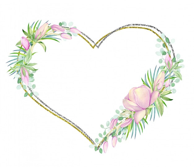La cornice è in oro e argento a forma di cuore. decorato con fiori di magnolia ad acquerello.