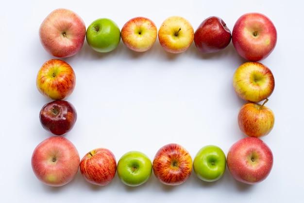 Cornice fatta di mele vista dall'alto