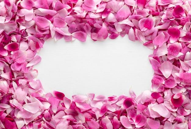 Cornice fatta di bellissimi petali di rosa rosa su un tavolo di legno bianco