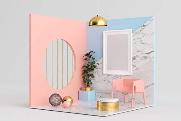 Cornice mock up su rendering 3d camera surreale rosa, blu e marmo