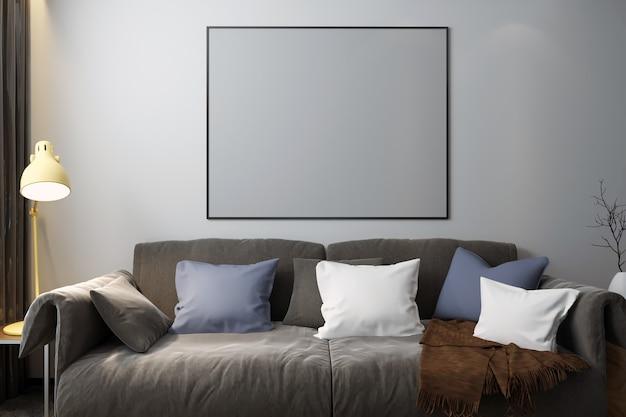 Frame mockup in camera da letto con decorazioni