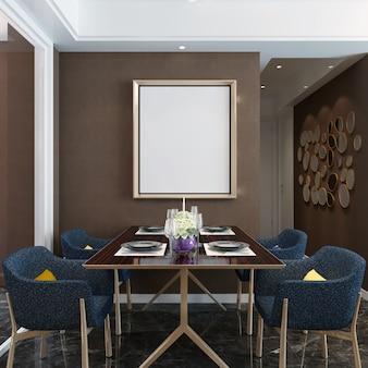 Frame mockup in sala da pranzo con decorazioni