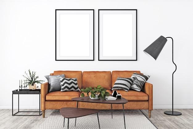 Mockup di cornice in soggiorno moderno