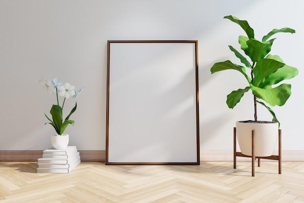 Mockup di telaio con pianta, pavimento in legno e muro bianco, rendering 3d